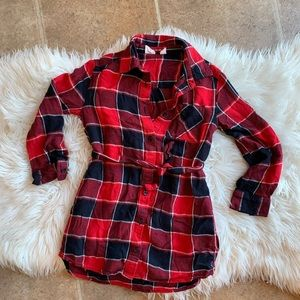 Gap Kids girl classic plaid shirt dress sz 6-7